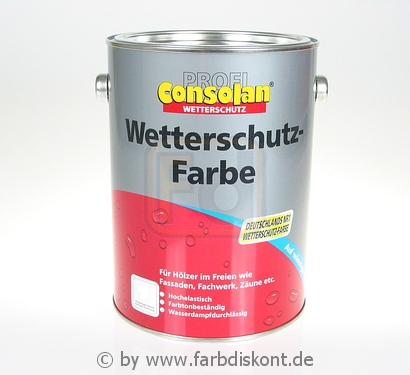 consolan wetterschutzfarbe 2 5ltr hellelfenbein t nung ebay. Black Bedroom Furniture Sets. Home Design Ideas